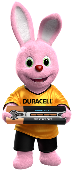 Duracell Bunny portant une pile Duracell