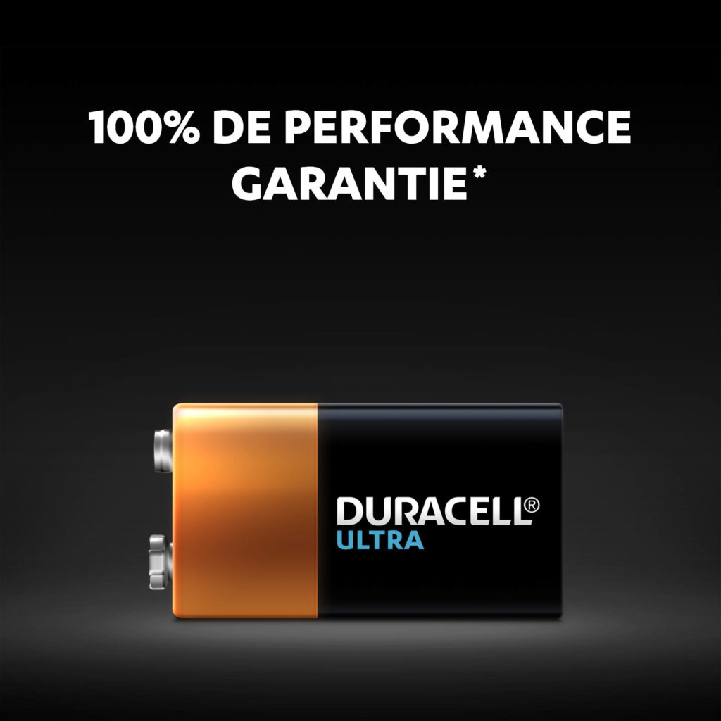 Piles alcalines Ultra 9V avec des performances garanties à 100%